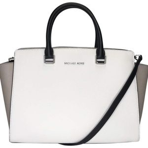Michael Kors Selma Large White~Beige~Black Tote
